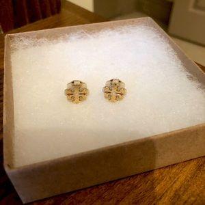 TORY BURCH flower resin logo stud earrings